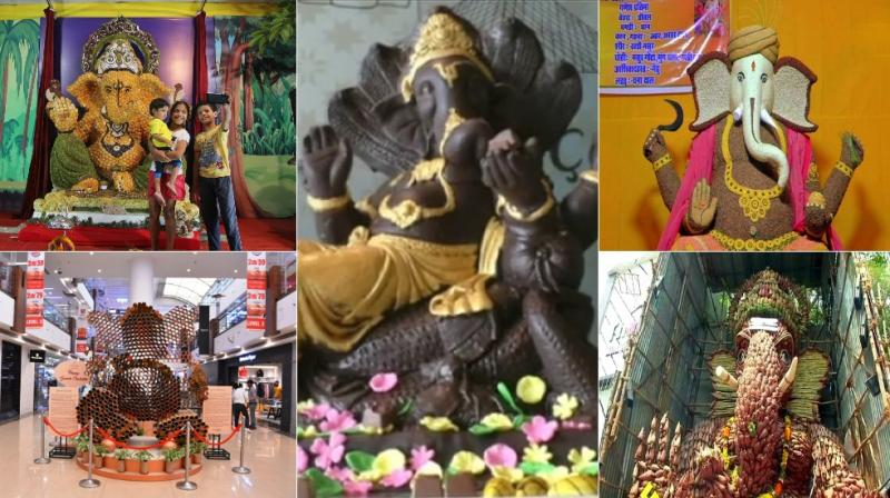 From panipuri to sugar, spice and everything nice, here are innovative Ganesh idols that will leave you spell-bound. (Photos: Twitter/ Facebook/ ANI)