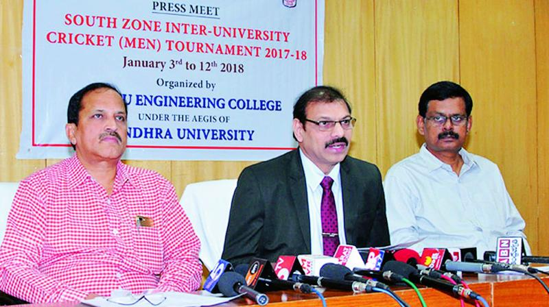 Vice-Chancellor of Andhra University, Prof. G. Nageswara Rao speaks on South Zone Inter-University Cricket Tournament 2017-18 at AU Campus in Visakhapatnam on Tuesday. (Photo: DC)