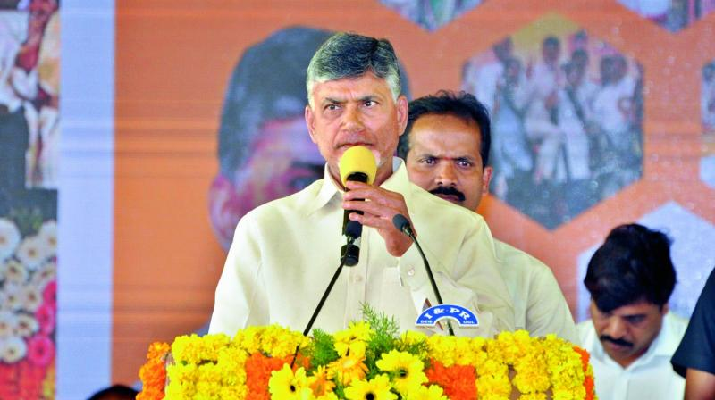 Chief Minister N. Chandrababu Naidu speaks at Janmabhoomi programme in Darsi on Tuesday. (Photo: DC)