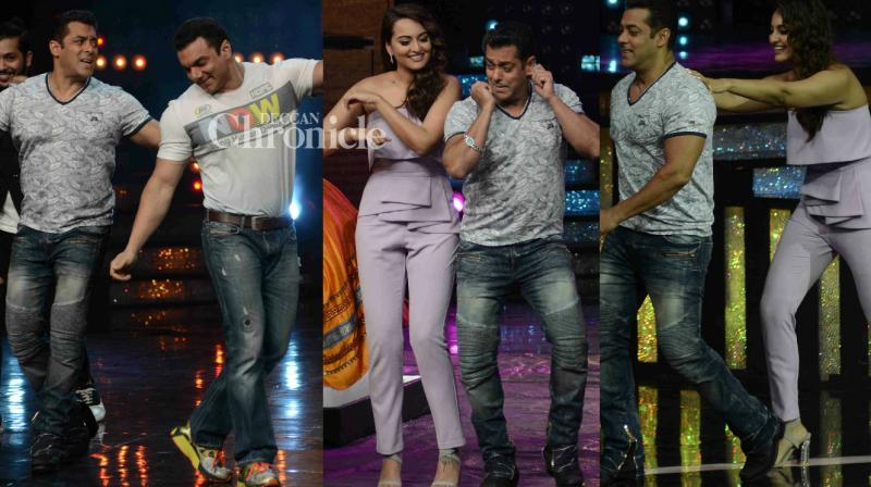 Salman Khan met his 'Dabangg' co-star Sonakshi Sinha on the sets of the reality show 'Nach Baliye', on which he came with his brother Sohail Khan to promote 'Tubelight' in Mumbai on Tuesday. (Photo: Viral Bhayani)