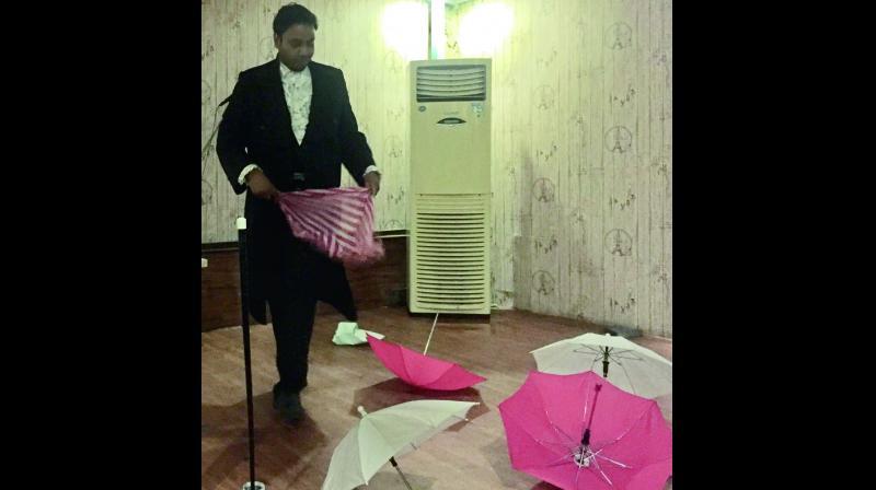 Amar Simhadri performs a trick at Nritya Forum