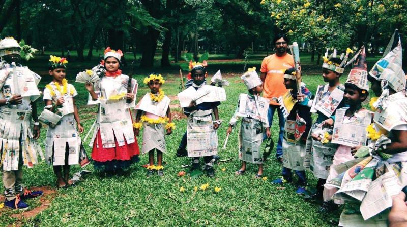 Angels Orphanage volunteers along with the children taking part in an extracurricular activity in Bengaluru. (Photo: DC)