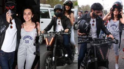 Harshvardhan Kapoor and Taapsee Pannu were snapped on a bike ride in Mumbai on Sunday. (Photo: Viral Bhayani)