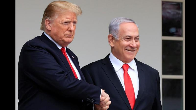 US President Donald Trump with Israel's PM Benjamin Netanyahu. (Photo: AP)