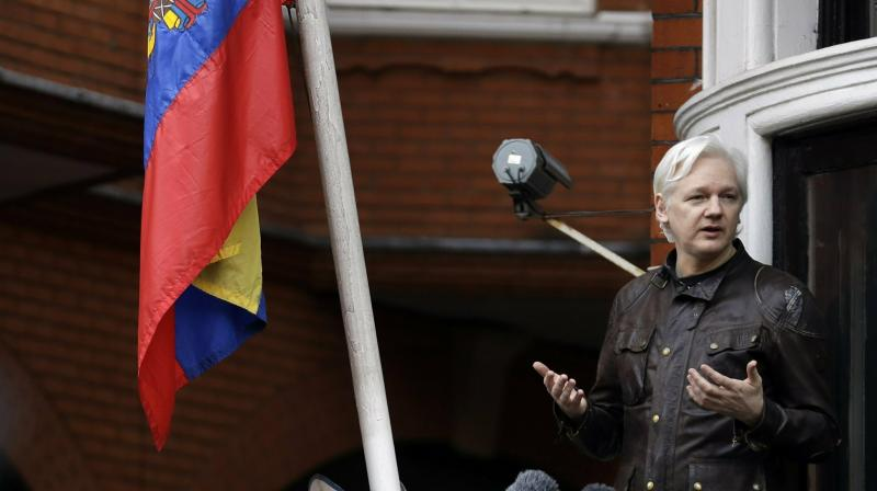 Julian Assange at the Ecuadorian Embassy. (Photo:AP)