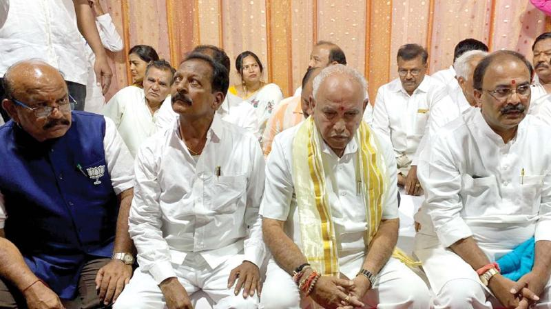 BJP state president B.S. Yeddyurappa and former Chincholi MLA Dr Umesh Jadhav campaign for the Chincholi Assembly bypoll on Wednesday