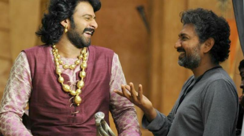 Prabhas and SS Rajamouli on the sets of 'Baahubali.'