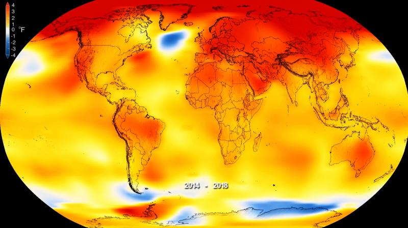 This map made available by NASA shows global surface temperature anomalies for 2014-2018, where higher than normal temperatures are shown in red and lower than normal temperatures are shown in blue. (Photo: AP)
