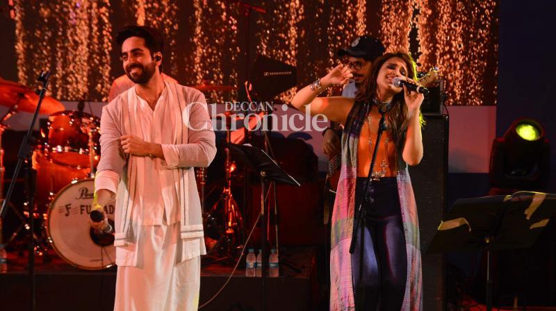 Parineeti Chopra and Ayushmann Khurrana entertained audiences with their singing at a special concert held to promote their upcoming film 'Meri Pyaari Bindu' in Mumbai on Saturday. (Photo: Viral Bhayani)