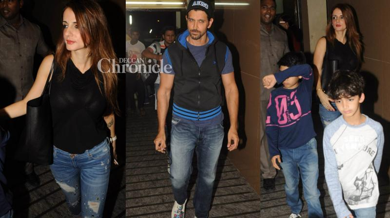 Estranged couple Hrithik Roshan and Sussanne Khan took their children Hrehaan and Hridhaan out for a film on Saturday in Mumbai. (Photo: Viral Bhayani)
