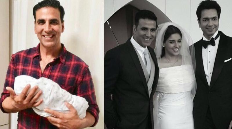 (L) Akshay Kumar with the baby, (R) with the couple on their wedding.