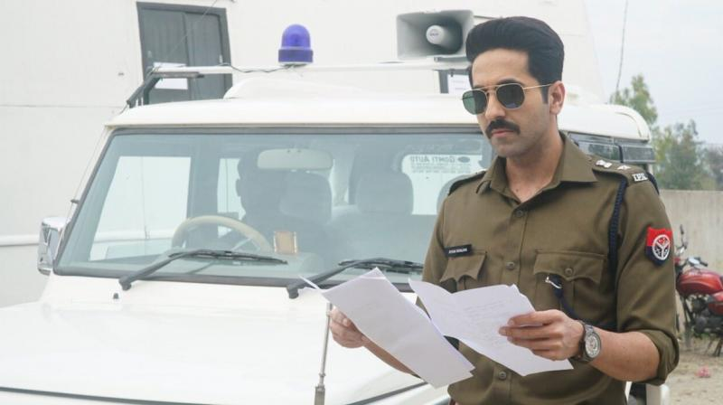 Ayushmann Khurrana's look as cop. (Photo: Twitter)