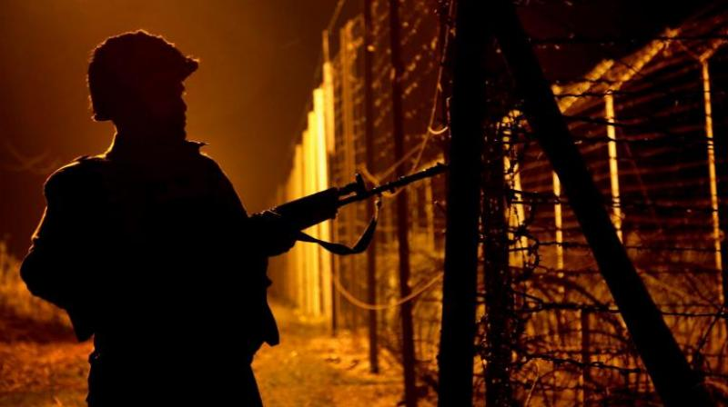 Security searches along global border in Samba, Kathua
