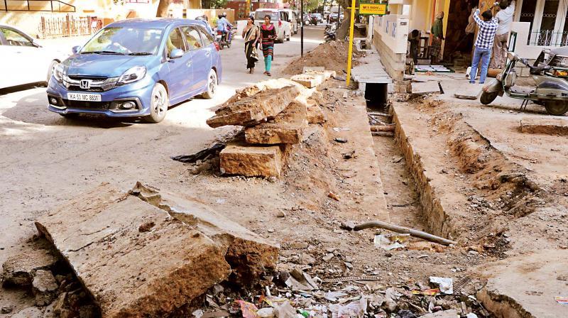 Road dug up at Indiranagar 12TH main, Bengaluru.