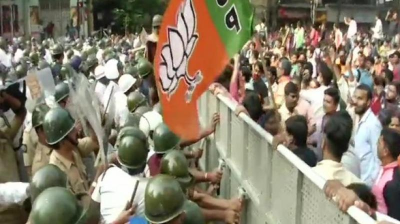 To disperse the crowd, the local police used water cannons to bring back normalcy in the state.  (Photo: ANI)