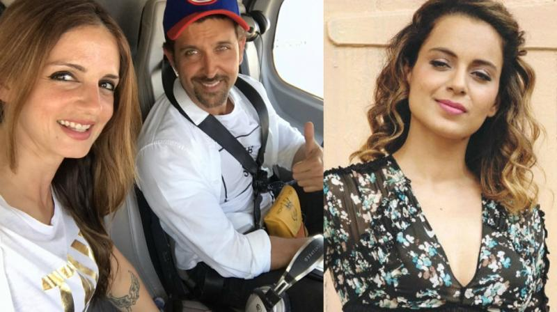 (L) The picture that Sussane Khan shared on Twitter amid recent allegations of Kangana Ranaut against Hrithik Roshan.