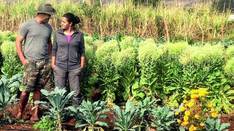 new age farmers: City-based couple, Kabir and Anjali in their farm on the  outskirts of Hyderabad