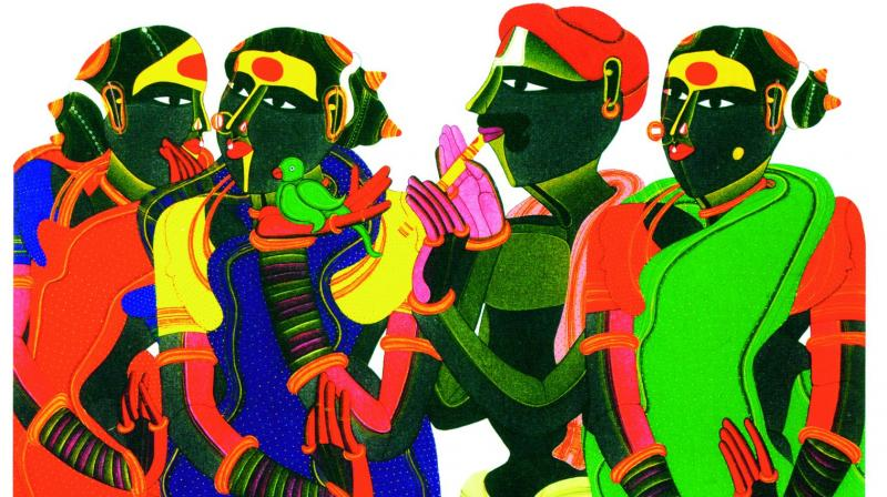 A few of Thota Vaikuntam's works that will be on display at Jehangir Art gallery and India Fine Art.