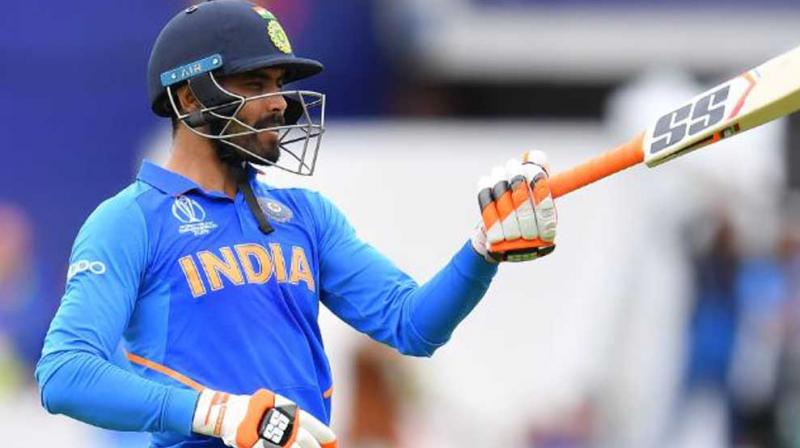 Ravindra Jadeja after completing his fifty against New Zealand. (Photo: Cricket World Cup/Twitter)
