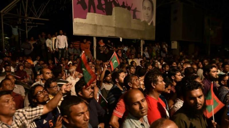 The Supreme Court decision is s seen by opposition activists as a blow to their attempts at toppling President Abdulla Yameen - accused of plunging the tiny Indian Ocean nation into political turmoil.. (Photo: AFP)