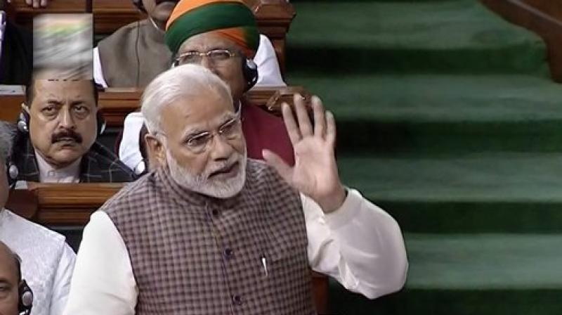 Prime Minister Narendra Modi delivers Motion of Thanks speech in Lok Sabha. (Photo: PTI)