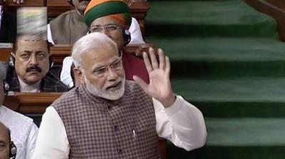 Prime Minister Narendra Modi delivers Motion of Thanks speech in Lok Sabha. (Photo: PTI)