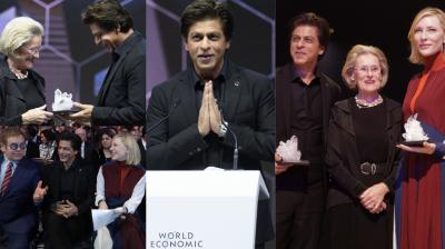 Shah Rukh Khan, along with other global celebrities, was honoured with the Crystal Award at the World Economic Forum held in Davos on Monday. (Photos: AP)