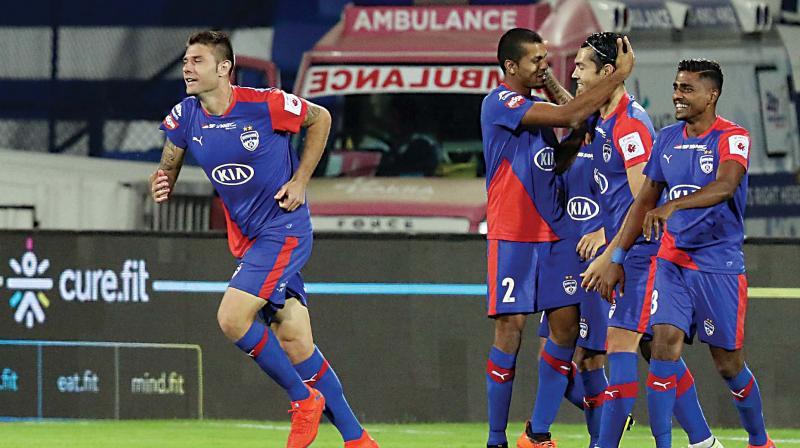 Bengaluru FC players celebrate a goal on Thursday (Photo:  ISL)