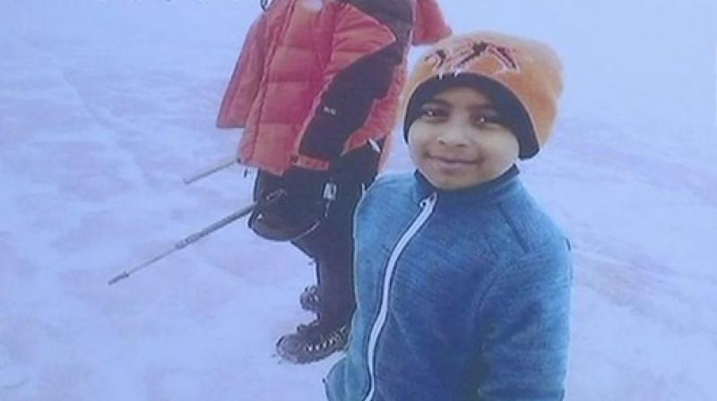 8-year-old Samanyu Potjuraju, along with a team of five, including his mother Lavanya and sister - achieved feat on December 12. (Photo: ANI)