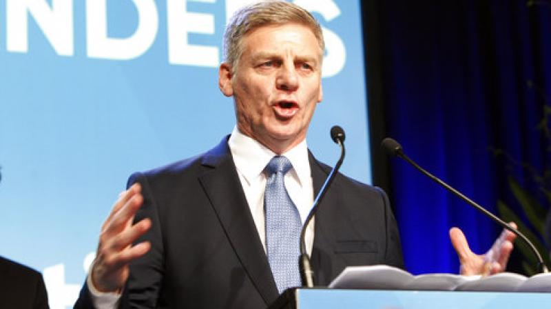 New Zealand's Prime Minister Bill English talks to hundreds of supporters after election results are announced on Saturday (Photo: AP)