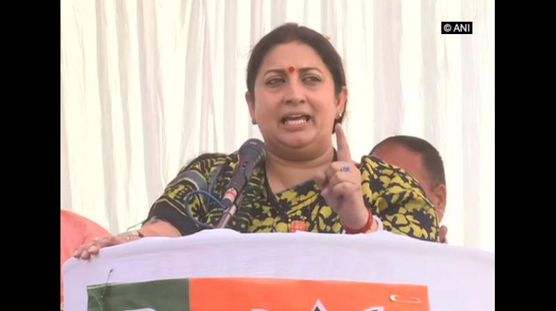 Union Minister Smriti Irani on Tuesday hit out at West Bengal Chief Minister Mamata Banerjee for her opposition to the NRC, saying that the BJP-led government at the Centre is committed to protecting the rights of each and every citizen of the country. (Photo: File)