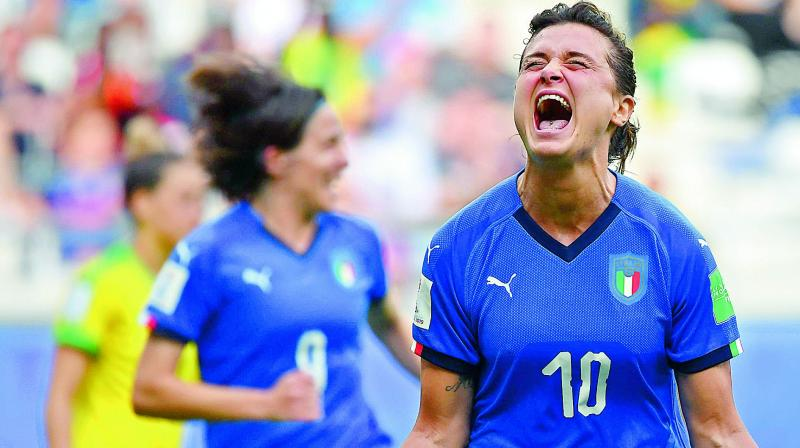 Italy's Cristiana Girelli celebrates a goal against Jamaica during a Women's World Cup match at the Auguste-Delaune Stadium in Reims, France on Saturday. (Photo: AFP)