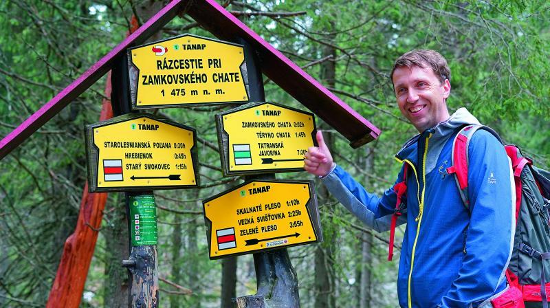 Guide Erik Sevcik  poses  during the trek
