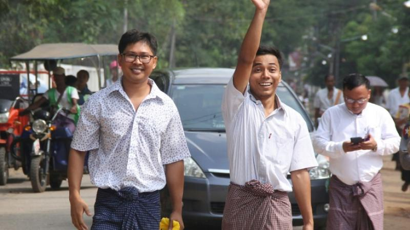 The two reporters, Wa Lone, 33, and Kyaw Soe Oo, 29, had been convicted in September and sentenced to seven years in jail. (Photo: AFP)