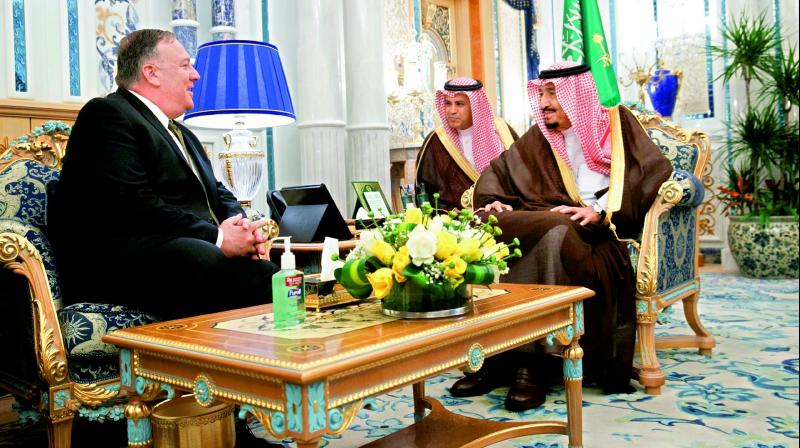 US secretary of state Mike Pompeo (L) meets King Salman at Al Salam Palace in Jeddah, Saudi Arabia, on Monday. (Photo: AP)