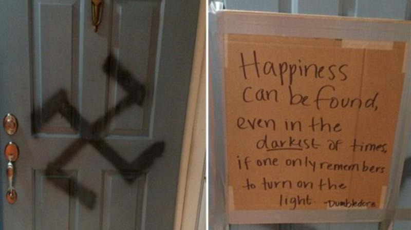 Erin covered the swastika on the door with a cardboard piece that had a quote from & Harry Potter fan responds to vandal with popular Dumbledore quote