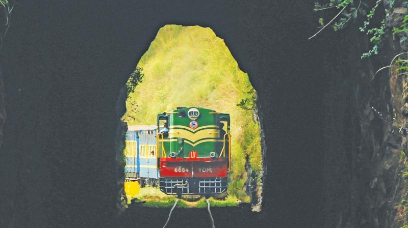 Photo shows the Ooty hill  train  entering a tunnel along the Ooty-Coonoor sector of the NMR track. (Photo: M.Prabhu)