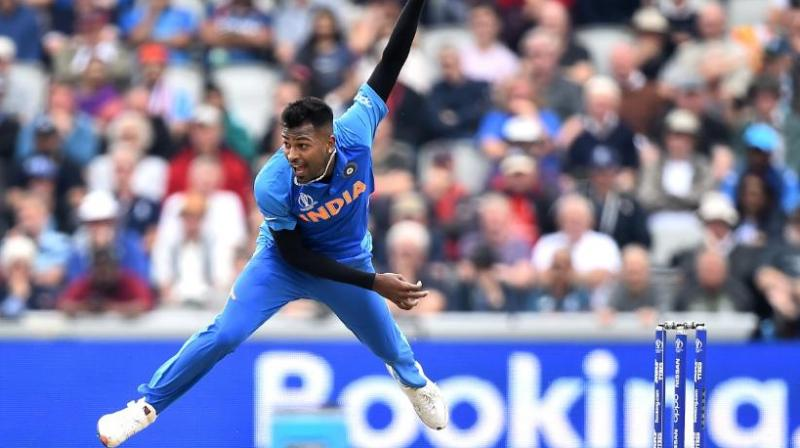 Hardik Pandya in action against New Zealand. (Photo: Cricket World Cup/Twitter)