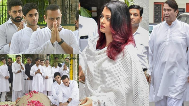 The last rites of businessman Rajan Nanda, who is Shweta Bachchan Nanda's father-in-law, were held in New Delhi on Monday. (Photos: PTI)