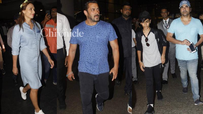 While Salman Khan and his family were snapped returning to Mumbai after their recent vacation in Maldives, several other Bollywood celebrities were also spotted at various locations in Mumbai on Sunday. (Photo: Viral Bhayani)