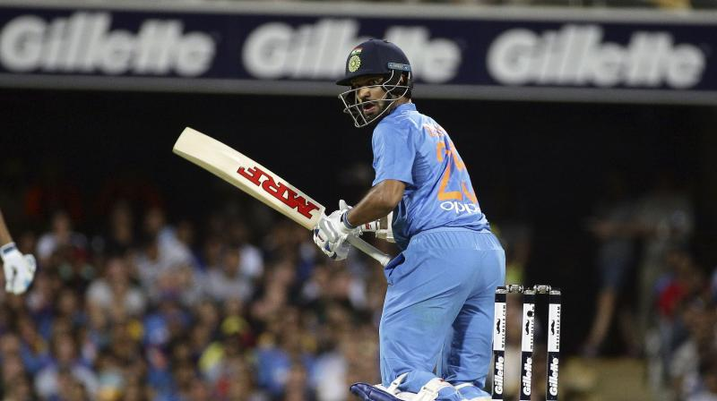 Dhawan smashed a sublime 76 off 42 balls in the run chase before Dinesh Karthik came up with a pulsating 30 off 13 balls towards the end but India still finished agonisingly short on 169 for seven. (Photo: AP)