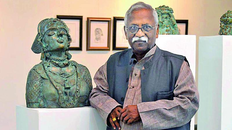Laxma was recently in Chennai to exhibit his paintings and sculptures as part of An Inner Retrospective exhibition. (Photo: DC)