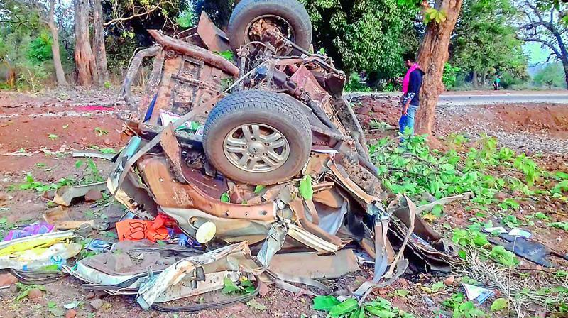 The mangled remains of a vehicle after a BJP convoy was attacked by the Maoists in Dantewada on Tuesday. (Photo: AP)