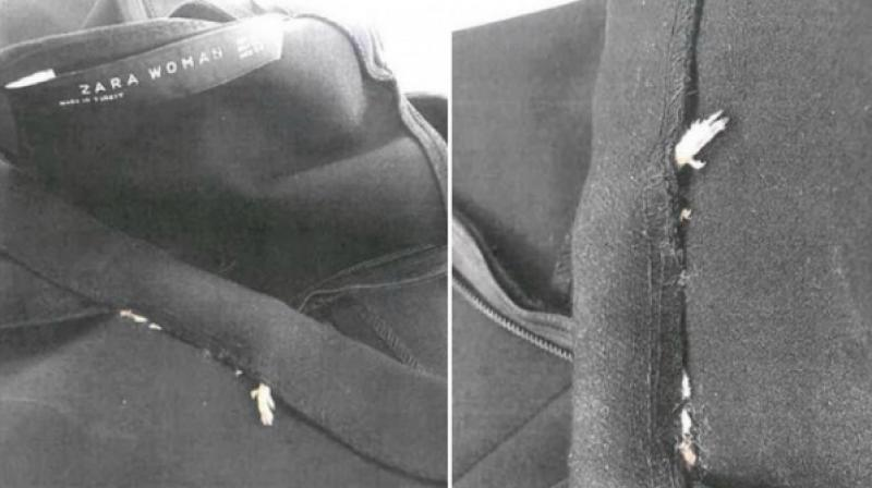 Cailey Fiesel, from Greenwich in the United States, found a decaying rodent sewn in to her outfit that she had purchased from Zara. (Photo: Cailey Fiesel)