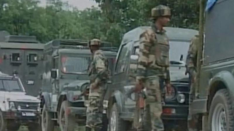 Security forces gun down top LeT commanderin Kulgam's Arwani village. (Photo: Photo: ANI | Twitter)