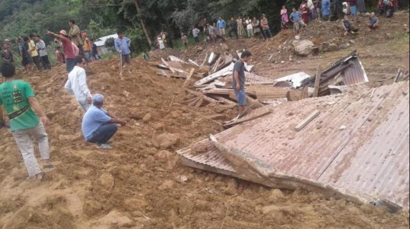 Three dwellings in Laptap village in Arunachal Pradesh were hit by the landslide around 3.30 pm on Tuesday (Photo: Twitter | ANI)