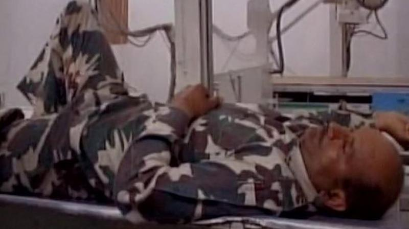 One CRPF personnel injured after terrorists lobbed grenade in Kulgam's Laroo in Jammu and Kashmir. (Photo: ANI | Twitter)