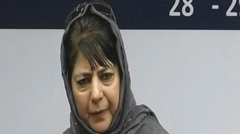 """Jammu and Kashmir Chief Minister Mehabooba Mufti said, """"To me India is Indira Gandhi.Maybe some people won't like it but she was India,while I was growing up she represented India for me."""" (Photo: ANI 