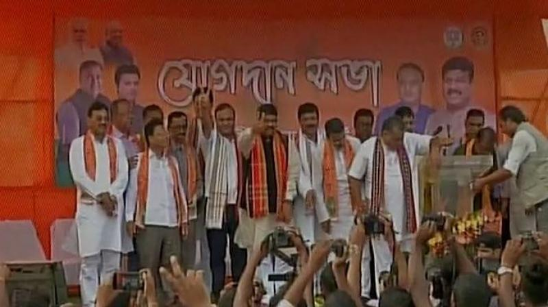 Trinamool Congress MLAs from Tripura Sudip Barman, Ashish Saha, Diba Chandra Hrangkhawl, Biswa Bandhu Sen, Pranjit Roy and Dilip Sarkar joined BJP. (Photo: ANi   Twitter)