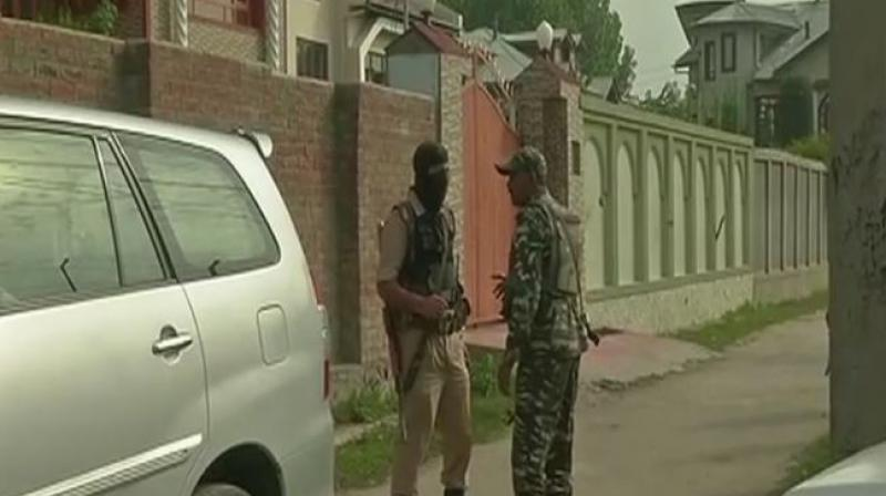 National Investigation Agency (NIA) raids at 11 locations in Srinagar and 5 locations in Delhi, in Jammu and Kashmir terror funding case. (Photo: Twitter | ANI)
